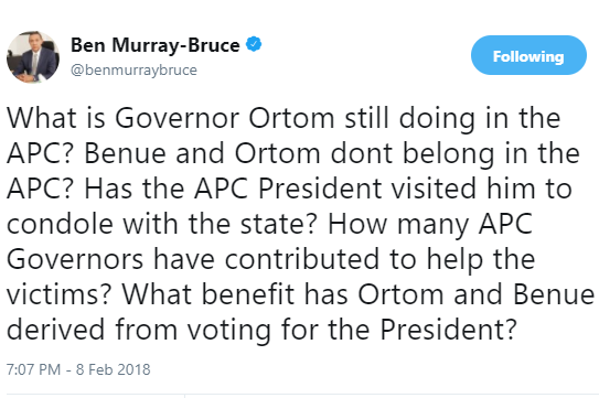 'What is Governor Ortom of benue State still doing in the APC?' - Senator Ben Bruce asks