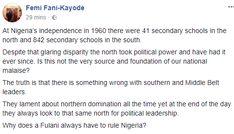 ''Why does a Fulani always have to rule Nigeria?'' FFK asks