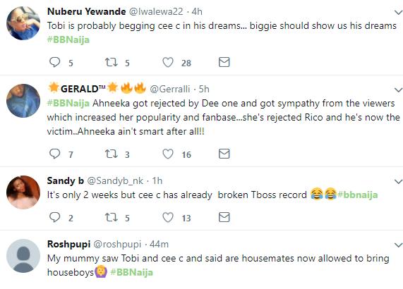 Nigerians drag #BBNaija housemate Tobi for begging Cee C