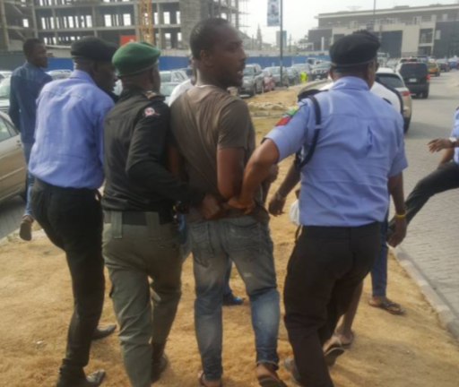 Photo: Police arrests suspected hoodlums disrupting the #OccupyLekki protest