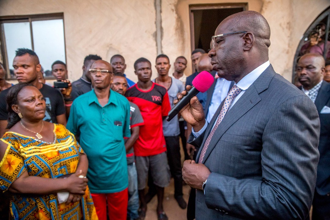 Photos: Edo state governor, Godwin Obaseki, visits family of commercial driver pushed to his death by police officers