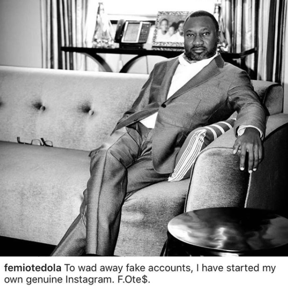 Finally Nigerian Billionaire, Femi Otedola joins Instagram