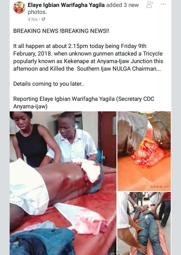 Graphic: Gunmen assassinate Southern Ijaw NULGA Chairman in Bayelsa