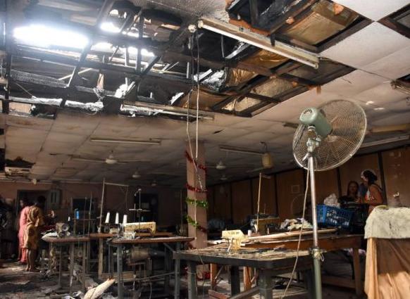 Photos:? Fire guts the Lagos office of popular fashion house, Vivid Imagination
