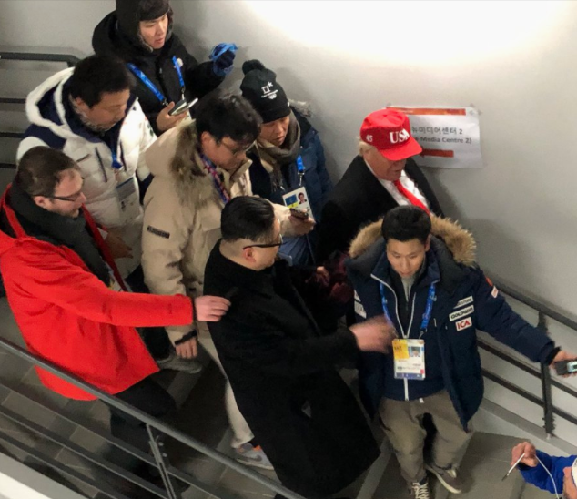 Lol!?Donald Trump and Kim Jong-un impersonators thrown out of Winter Olympics opening ceremony (Photos)