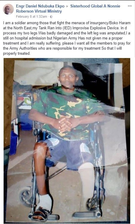 Nigerian soldier who lost one leg in Boko Haram battle, calls out Army Authorities, asking for proper treatment (Photos)