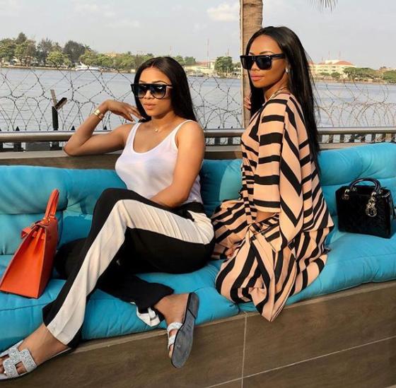 Cute photo of Toke Makinwa and Bonang Matheba twinning in Lagos