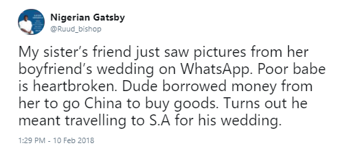 Twitter stories: Nigerian man tricks his girlfriend out of cash, uses it to pay for his destination wedding to another lady