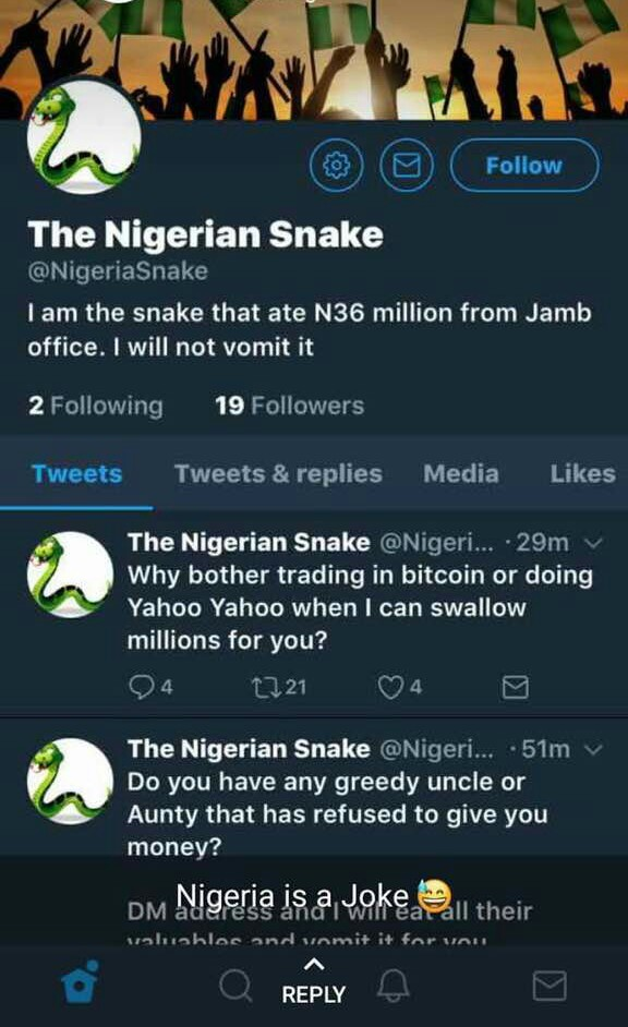 JAMB snake already has a Twitter account! Lol