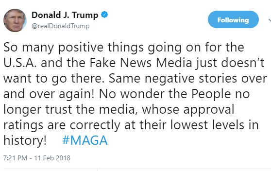 """The American?People no longer trust the media"" - Donald Trump"