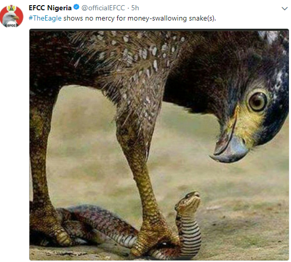 "Lol! EFCC trolls the money swallowing ""Snake"" in an epic way"