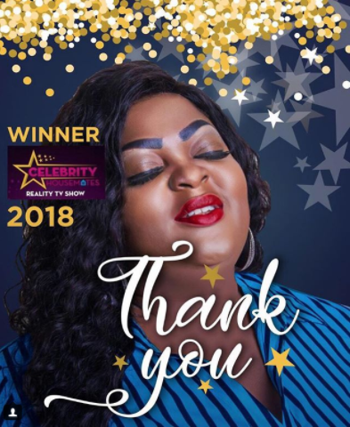 Eniola Badmus emerges winner of the Celebrity Housemates reality TV show; thanks her fans for their support