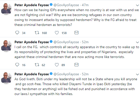 Governor Fayose reacts to the death of father of two hacked to death by suspected herdsmen in Ekiti