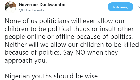 ''As politicians, we do not allow our children to be political thugs or insult other people online or offline'' Gombe Governor tells internet trolls