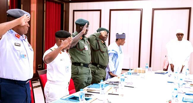 Breaking! Insecurity: President Buhari, VP Osinbajo hold closed-door meeting with security chiefs