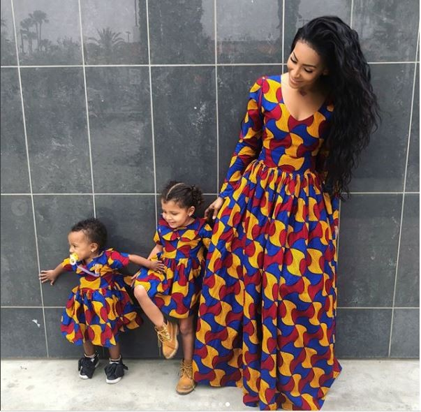 Reality star Amina Buddafly and her daughters stun in matching Ankara fabric (Photos)