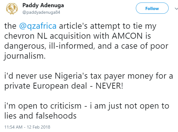 """Your attempt to tie my Chevron acquisition with AMCON is dangerous, ill-informed"" - Paddy Adenuga calls out African website"