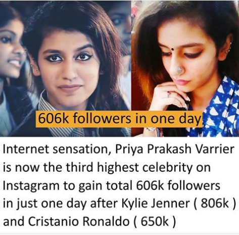 Meet Indian teenager who broke the internet with just a wink after which she gained over 1.3 million followers in one day and became most searched on Google