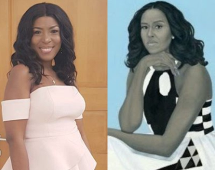 You guys don't even hate, this Michelle Obama Portrait looks like me, doesn't it?
