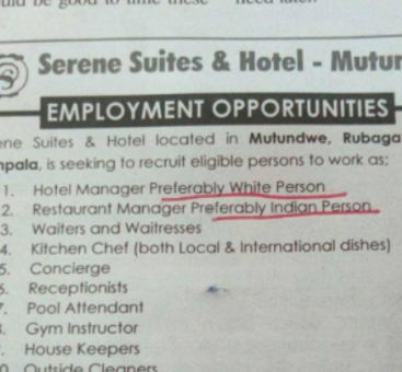 Ugandan based hotel puts up vacancy requesting for Whites and Indians for the top positions