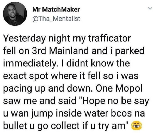 Lol Man narrates how a MOPOL threatened to shoot him after he thought he wanted to commit suicide at Third Mainland bridge