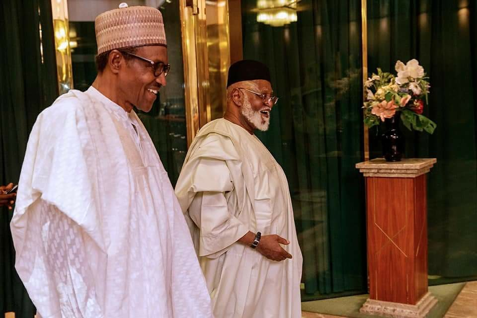Photos: Former President Abdulsalami Abubakar visits President Buhari in the state house