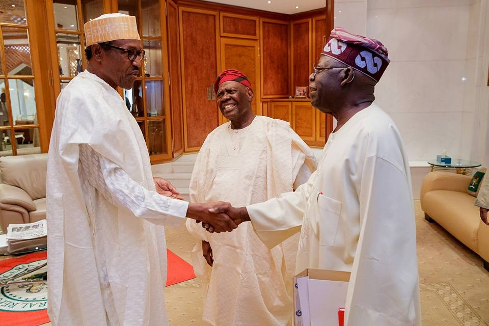 Photos:?President Buhari meets with APC leaders Asiwaju Bola Ahmed Tinubu and Chief Bisi Akande