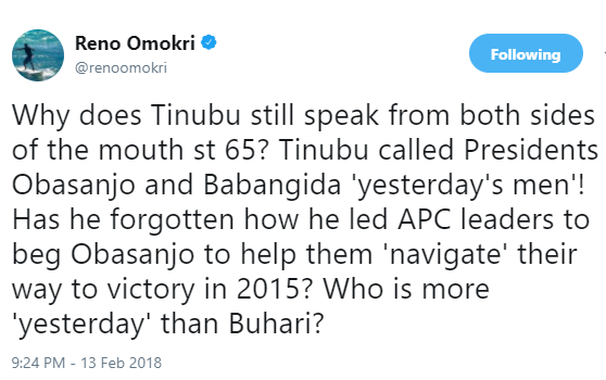 Why does Bola Tinubu still speak from both sides of the mouth at 65? - Reno Omokri