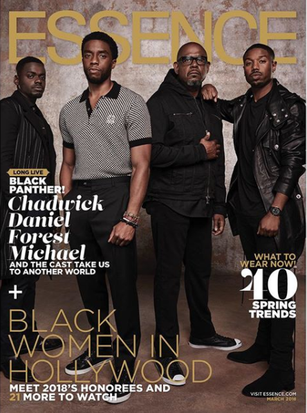 """Black Panther"" cast cover Essence Magazine"