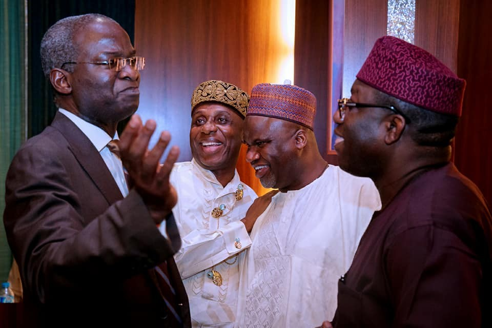 Caption this photo of Rotimi Amaechi, Tunde Fashola and Fayemi