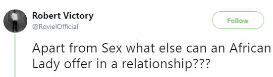 'Apart from sex what else can an African Lady offer in a relationship?' - Twitter user asks