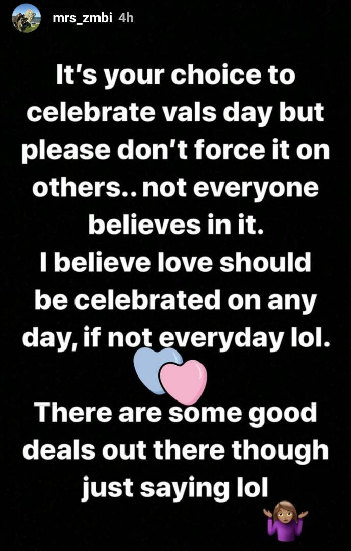''Please don't force Valentines day on others, not everyone believes in it''Zahra Buhari says