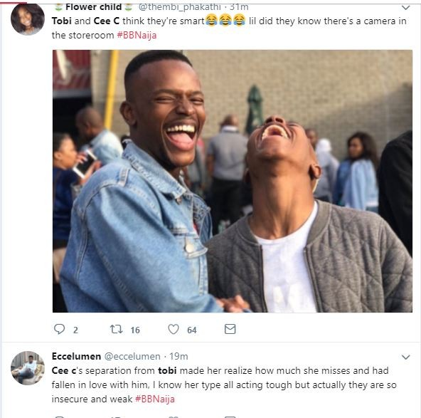 BBNaija: See how Nigerians are reacting to Tobi and Cee-C