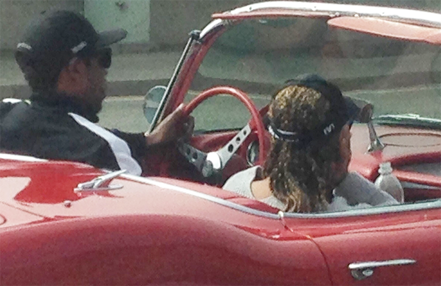 Jay-Z and Beyonce take their new 1969 Corvette Convertible classic car for a spin in California (Photos)