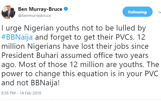"""I urge Nigerian youths not to be lulled by #BBNaija and forget to get their PVCs"" - Ben Bruce"