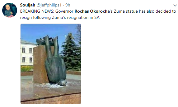 ''What becomes of his statue?'' Nigerians troll Governor Rochas Okorocha following South African president Jacob Zuma's resignation over corruption allegations