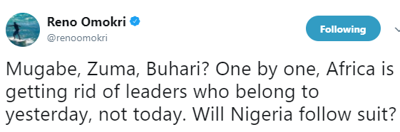 ''Will Nigeria follow suit?'' Reno Omokri reacts to Jacob Zuma's resignation