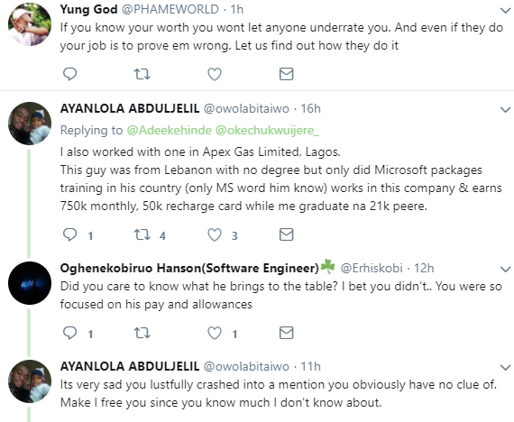 Heated argument on twitter on why expatriates with no degree enjoy better salaries and perks than Nigerians with plenty certificates