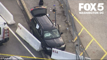 3 injured and 3?in custody after SUV tries to ram gate at National Security Agency and is stopped by police officers who shot at its windshield