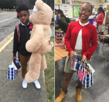 High school student gifts his girlfriend a huge teddy bear and jewelry for valentine's day in the presence of their teachers and classmates (video)