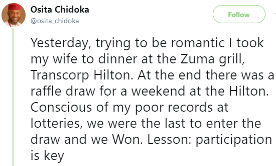 ''Your history is not your destiny'' Former minister of Aviation, Osita Chidoka shares profound lesson he learnt when he took his wife for valentine dinner last night