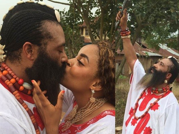 Trending photos of a Nigerian 'Spiritual father' with long beards kissing his wife as they celebrated Val's day