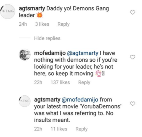 "Between Richard Mofe Damijo and an Instagram user who called him, ""Demon gang leader"""