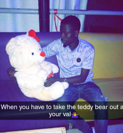 Photos: Nigerian man takes his teddy bear out on a romantic date on Val's day in Ekiti state (photos)