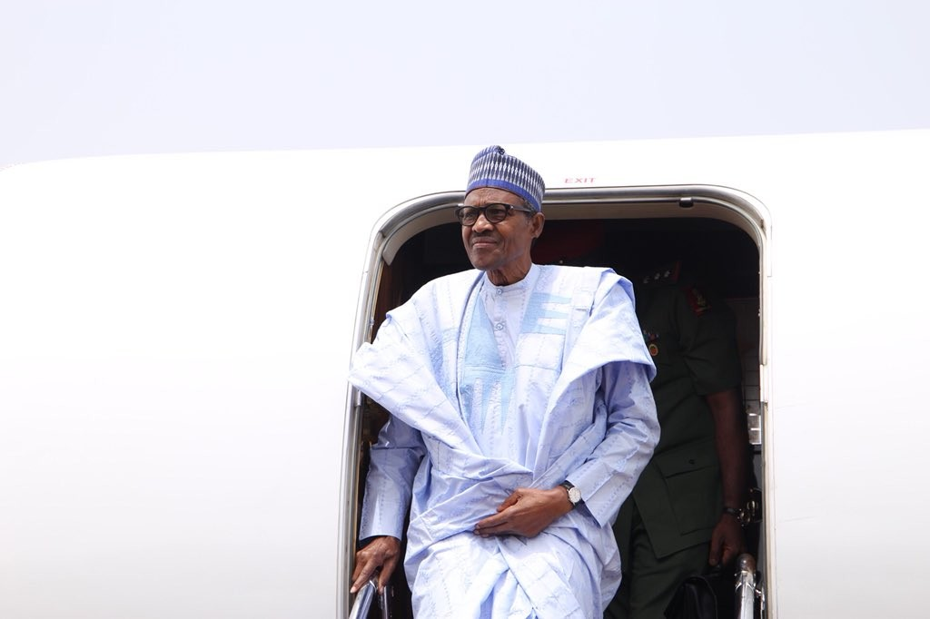 President Buhari arrives Kaduna to inaugurate a drone constructed by the Nigerian Air Force(photos)