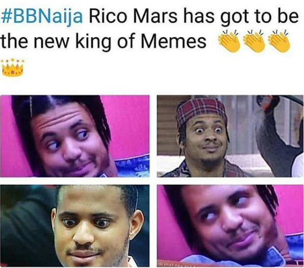 Big Brother Naija housemate, Rico Swavey is fast becoming the new king of memes (photo)