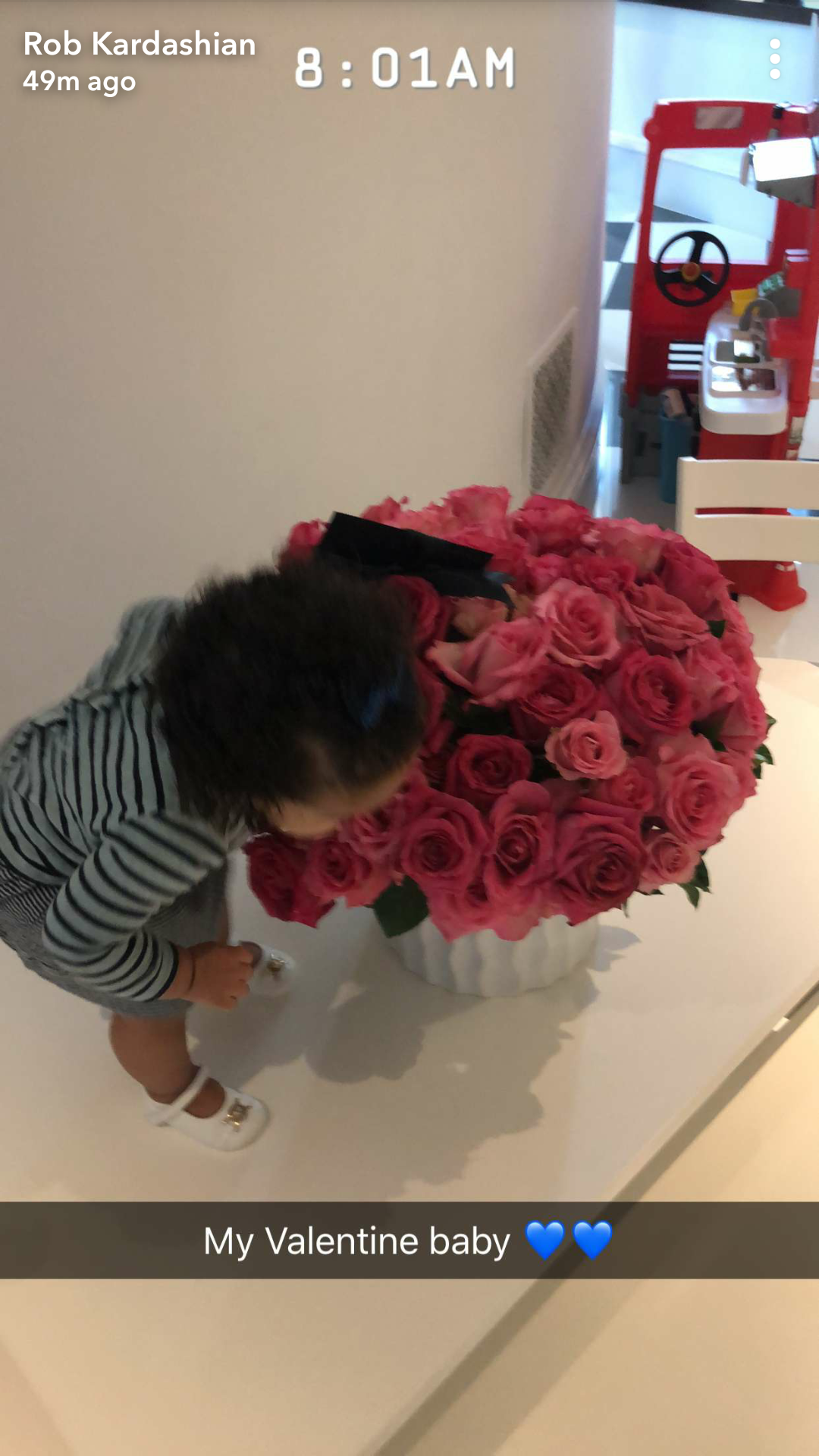 Rob Kardashian shares adorable photo of his daughter checking out a bouquet of roses