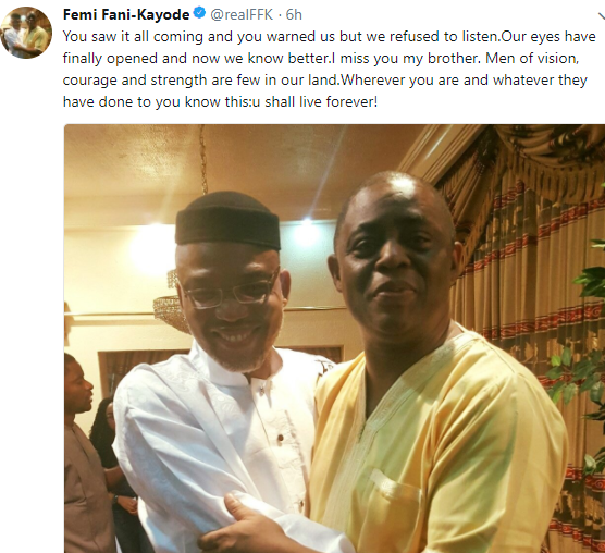 ''Wherever you are and whatever they have done to you, know that you shall live forever'' FFK remembers his friend, Nnamdi Kanu