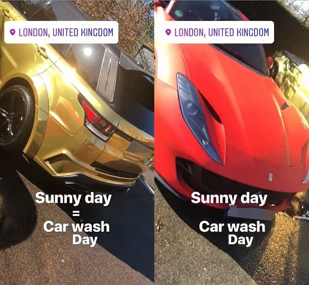 Arsenal star Pierre-Emerick Aubameyang shows off his gold Range Rover and red Ferrari (Photos/Video)