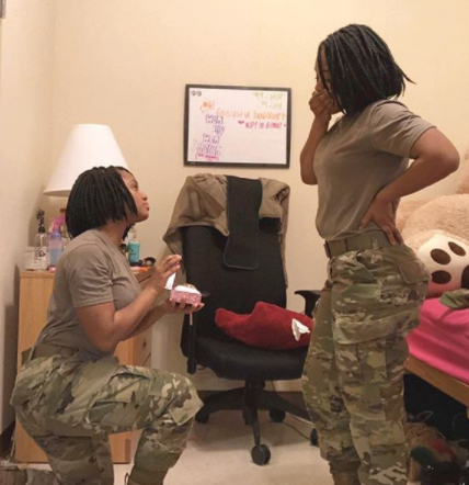 American Soldier gets engaged to herself and makes an announcement on social media